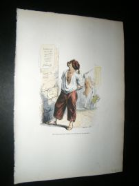 Grandville des Animaux 1842 Hand Col Print. Dog Reading Political Poster